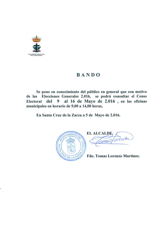Bando censo electoral ayuntamiento de santa cruz de la zarza for Oficina del censo electoral
