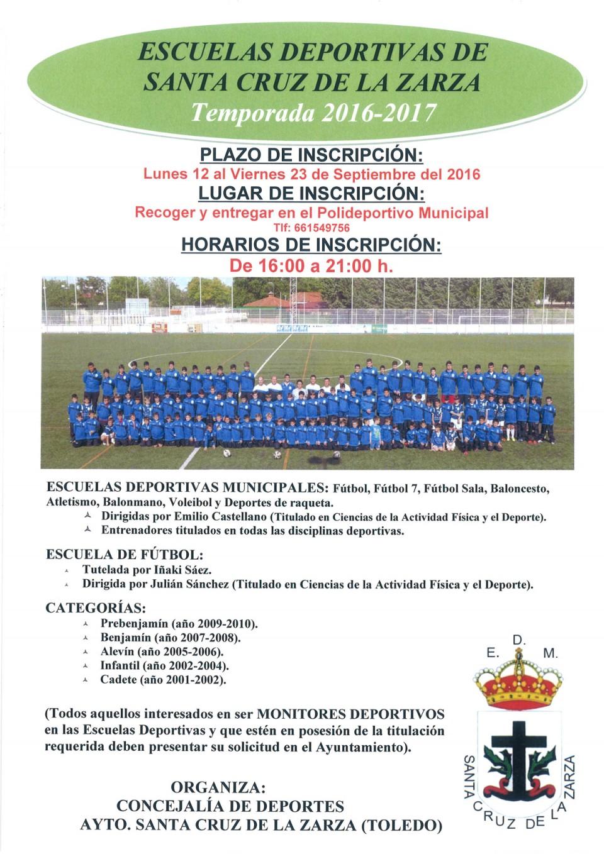 Inscripción Escuelas deportivas temporada 2016/2017
