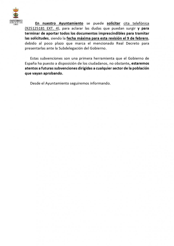 Ampliación de información para solicitantes por daños en viviendas por la Borrasca Filomena 2